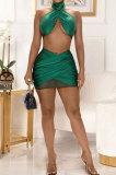 Halter Neck Net Yarn Spliced Cross Ruffle Reflective Skirt Sets GL6378