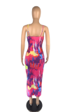 Women Print Sexy Casual Halter Long Dress AB6647