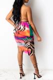 Sexy Hollow Out Print Bikini Skirt Swimsuit NL6066