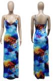 Fashion Summer Casual Printing Sling Long Dress WT9141