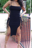 Sexy Women Eyelet Bandage Pure Color Condole Midi Dress MDF5240