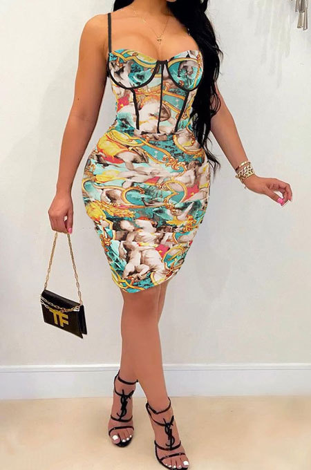 Sexy Ruffle Printing Condole Belt Mini Dress GL6385