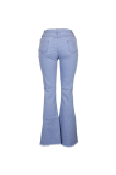 Cotton Ripped Horn Pure Color Midrise Jeans MD159