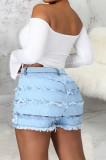 Fashion Spliced Hole Stretch Cowboy Shorts SMR2540