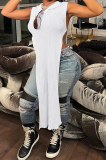 Sexy Sleeveless Casual Long Split Hooded Top AB6651