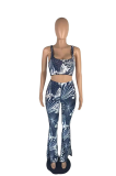 Summer Casual Chic Flared Print Vest Pants Suits AB6653