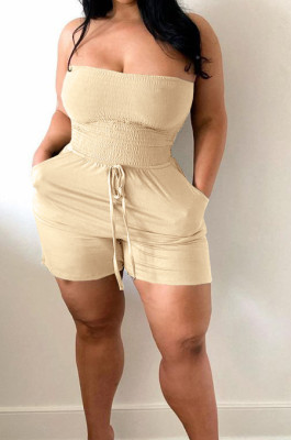 Fashion Sexy Boob Tube Top Loose Pocket Shorts Jumpsuits BLX8218
