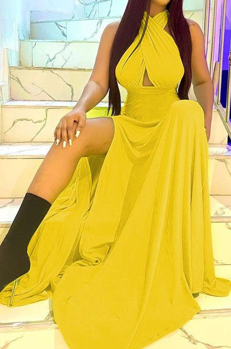 Pure Color Trendy Bandage Open Fork Backless Long Dress BLE2375