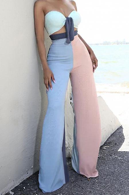 Contrast Color Spliced Chest Wrap Flare Leg Pants Sets GL6379
