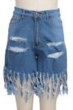 Fashion Sexy Package Buttocks Tassel Hole Wash Water Cowboy Shorts SMR2373