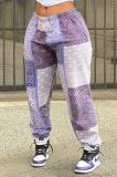 Printed Loose Casual Stitching Color Slacks AB6645