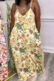 Euramerican Printed Loose Condole Belt Long Dress With Pocket WY6804