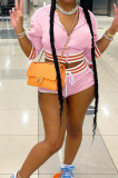 Fashion Spliced Stripe Hoodie Top+Sexy Sports Shorts Sets BLX8215