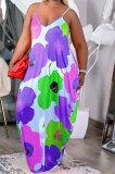 Women Condole Belt Tie Dye Casual Printing Loose Plus Long Dress FA7235