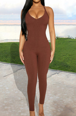 Pure Color High Elastic Pit Bar Casual Sling BodycoN Jumpsuits BBN172