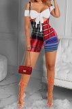 Women Fashion Casual Plaid Condole Belt Skirts Sets GLS8144