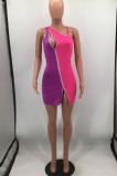Color Matching Double Zipper Night Club Dress HH8977