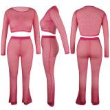 Women Perspective Pure Color Net Hole Long Pants Two-Pieces QQM4292