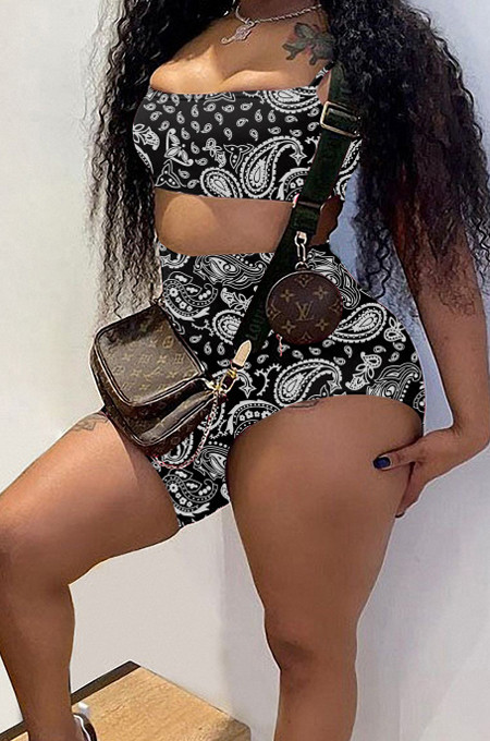 Fashion Cashew Fjower Pattern Sling Vest Long Short Pant Sets HY5226