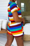 Fashion Stripe Printing Short Sleeve Shorts Montrast Color Sets H1660