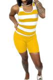 Sleeveless Stripe Printing Casual Shorts Sets AMM8356