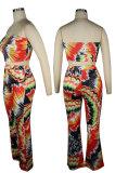 Colored Drawing Printing Chest Wrap Long Pants Sets QQM4307