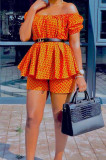 Fashion Print Strapless+Shorts Two-Piece LS6446