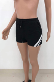 Casual Pure Color Patchwork Double Pocket Shorts HT6070