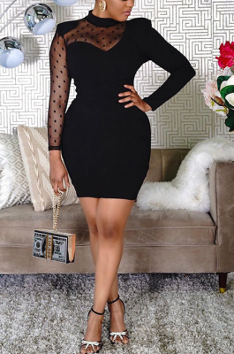 Sexy Long Sleeves Black Mesh Patchwork Dress HT6067