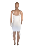 Sling Side Hollow-Out Drawstring Tie Hip Wrap Sexy Dress SML8207
