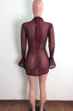 Mesh Perspective Drawsting Ruffle Flare Sleeve Casual Dress LA3279