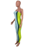 Casual Chest Wrap Bcakless Stitching Color Jumpsuits AMX6032