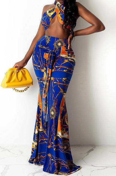 Leopard Printing Chest Wrap Backless Fishtail Skirt Sets QQM4289