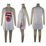 Lips Printing Vest Loose Tops Shorts Sets QQM4285