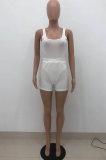 Casual Sexy Pure Color U-Neck Vest Shorts Sets HT6065