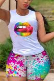 Summer Sexy Lip Print Casual Vest Shorts Sets AB6642