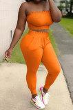 Women Shirred Detail Chest Wrap Pure Color Sport Casual Pants Sets NK249