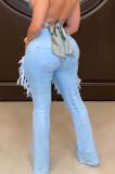 Wash Water Hole Fashion Casual Flare Pants LA3272