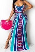 Women Positioning Printing Condole Belt Backless Long Dress QQM4287