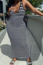 Sexy Deep V Stripe Printing Vest Long Dress HY5228