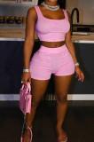 Summer Fashion Pure Color Vest Yoge Pants Two-Piece H1658