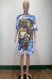 Women Casual Printing Mini Dress AMM8355