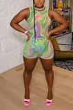 Sexy Tie-Dye Vest Sleeveless Shorts Sets AB6648