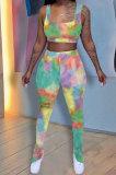 Tie Dye Printing Vest Ruffle Opne Fork Long Pants Sets QQM4293