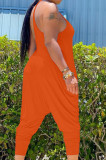 Pure Color Sling Vest Irregularity Loose Jumpsuits Haroun Pants HY5229