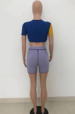 Sexy Hollow Out Shorts Sleeve Rib Color Matching Shorts Sets HT6066