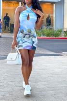Sleeveless Print Neckline Sexy Hollow-Back Fashion Dress AMX6027