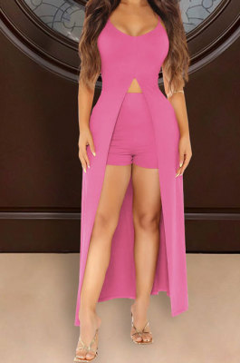 Women Casual Sexy Pure Color Condole Belt Shorts Skirts Sets ATE5129