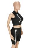 Fashion Pure Color Zipper Sleevess Shorts Sets ANK6013