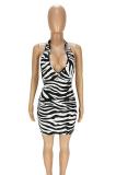 Summer Sexy Print Deep V-Neck Halter Mini Dress ANK6014